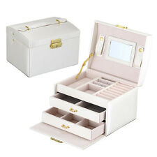 Jewelry Leather Mirror Box Storage Organizer Case Necklace Ring Earring Display