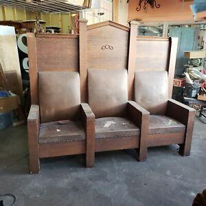 Early 1900's Odd Fellows Lodge Chair Throne Three Seat Chair Quarter Sawn Oak