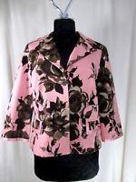 Karen Kane Jacket Blazer Floral Pink Lined Button front Office Size 12 #K5