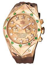 New Watchstar Rose Gold Superstar Automatic Chrono Swarovski Green Topaz Watch