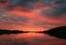 Framed Print - Red Sunset Over a Dark Still Lake (Picture Poster Scenic Water)