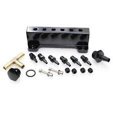 Aluminum Turbo Wastegate Bosst Vacuum Intake Manifold 6 Port 1/8 NPT Black