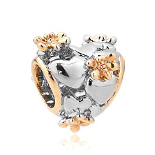 Rose Gold Dragonfly On Hollow Heart Charm Beads Charm Bracelets Pandora Gift New