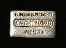 Vintage ENGELHARD SIlver 10oz Poured Loaf Silver Bar .999+ Pure Serial# P021671