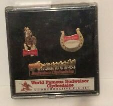 Budweiser Beer Vintage Commemorative Clydesdale Pins MIP Rare