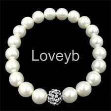 whtie Freshwater cultured 8-9mm pearl BLACK crystal ball bracelet Elasticity