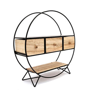 Display Shelf Metal Round Free Standing Shelves With Wooden Drawers