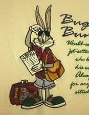 BUGS BUNNY embroidered lrg T shirt jet-setter Mel Blanc cartoon tee Acme 1980s
