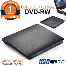 External USB 3.0 Slim Drive DVD RW CD RW Burner Copier Writer Reader Rewriter UK