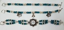 Handmade zircon blue crystal silver quartz watch and bracelets set with charms