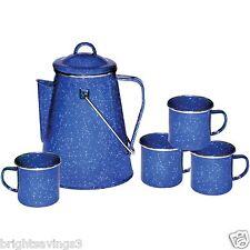New Outdoor Camping Coffee Pot Percolator Maker Brewer 4 Mugs Enamel Set