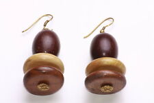 OFFBEAT CASUAL CHUNKY DARK AND MIXED TONES WOODEN BEADS HOOK EARRINGS (ZX46)