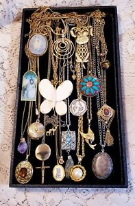 22 Piece Vintage and Modern Chains w/ Pendants Necklace Lot - Sarah Cov., ART