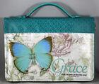 "Bible Cover Grace Blue Botanic Butterfly NEW Medium 6 5/8"" x 9 5/8"" x 1 3/4"""
