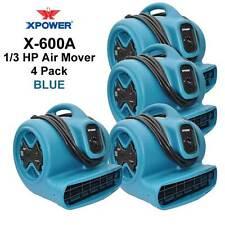 XPOWER X-600A 1/3HP Air Mover Carpet Dryer Floor Fan w GCFI Outlets 4 Pack- Blue