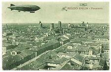 CARTOLINA REGGIO EMILIA PANORAMA CON DIRIGIBILE E AEREO 1926 VIAGGIATA