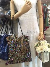 """HOT 13"""" SEQUIN FABRIC FISH SCALE EMBROIDERY TOTE BAG SHOULDER CASUAL"""