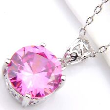 Round Jewelry Genuine Sweet Pink Topaz Platinum Plated Heart Necklace Pendant