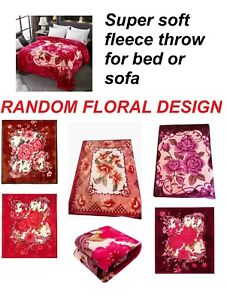 Red pink bronze soft fleece throw bed sofa cover snuggy Extra large floral rose