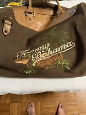 Tommy Bahama Embroidered Overnight Bag Brown Canvas And Leather