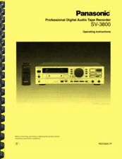 Panasonic Sv-3800 Dat Machine Owner'S Manual
