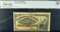 DOMINION OF CANADA 1900 25 CENTS CUTTING ERROR PREVIOUS  NOTE SHOWING