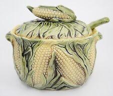 Majolica Corn on Cob Ears Tureen Embossed Figural Lid Handle Ladle Green Yellow