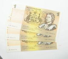 Australian One Dollar 3 Consecutive Banknotes Side Thread - Knight/Wheeler - $1