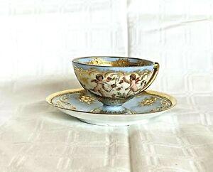 Exquisite Antique Dresden Porcelain Hand Painted Cherubs Tea Cup & Saucer