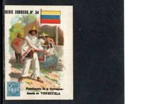 VERY EARLY VENEZUELA STAMP TRADE CARD, MAIL DELIVERY AND FAUX STAMP, SCARCE CARD