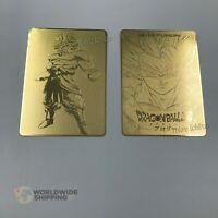 Lot de 2 Cartes Dragon Ball Super Gold Gogeta Broly / Metal Card Fan Made / DBZ