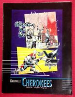 '95/96 Knoxville Cherokees ECHL Hockey Game Program Magazine + Insert  Nashville