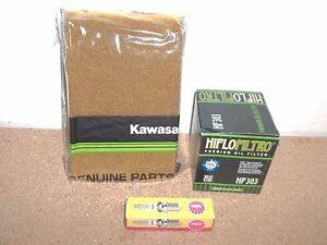 Kawasaki Tune up kit NGK Spark Plug +  Air and Oil Filter Prairie KVF 400 KVF400