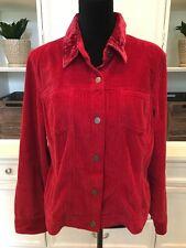 J.Jill Women's Red Corduroy Jacket Button Down Velvet Collar Pockets Size Large