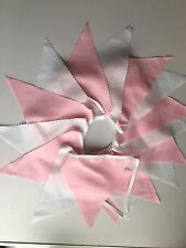 PINK AND WHITE 16ft FABRIC BUNTING
