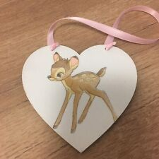 Disney Bambi Wooden Hanging Heart Plaque Baby Girl Gift Christening Gift