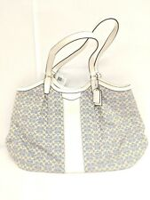 Coach SIS JAC SV/ChambrayWhite and Powder BlueLeather Cloth Cross Body Bag