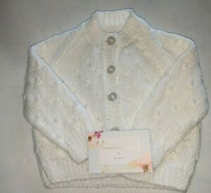 Hand knitted white cardigan 3-6 months