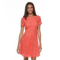 NEW APT.9 Women Pleated Lace Fit Flare Dress Dubarry Lined Lace overlay Size 12