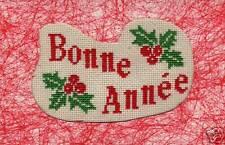 CARTE de VOEUX - KIT point de croix - BONNE ANNEE /HOUX