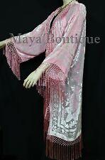 Baby Pink Fringes Jacket Kimono Long Coat Silk Burnout Velvet Maya Matazaro
