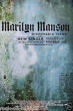 Marilyn Manson 2001 Disposable Teens Original Promo Poster