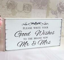 Wedding Guest Book Sign Good Wishes For the Mr & Mrs Free Standing Vintage