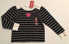 NWT Gymboree Tres Chic Sz 5 Black & White Stripe Heart Long Sleeve Top