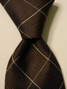 ROBERT TALBOTT Carmel Mens 100% Silk Necktie Luxury PLAID Brown/Blue/Tan PERFECT