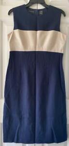 Liz Claiborne Womens Blue Beige Work Office Cocktail Party Sheath Dress Size 8