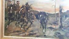 Jozef Szczesny Polen Gemälde 2 Wk Kriegsszene kavallerie Öl Bild 1939 kossak