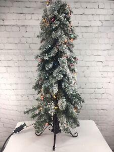 Bethlehem Lights 3' Slim Flocked Downswept Flocked Decorator Christmas Tree QVC