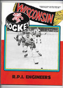 October 14-15 1983 WISCONSIN vs R. P. I. ENGINEERS College Hockey Program (JS)