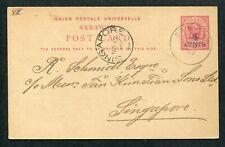 1899 Malaya Sarawak 4c on 3c Postal Stationery Postcard Sarawak to Singapore